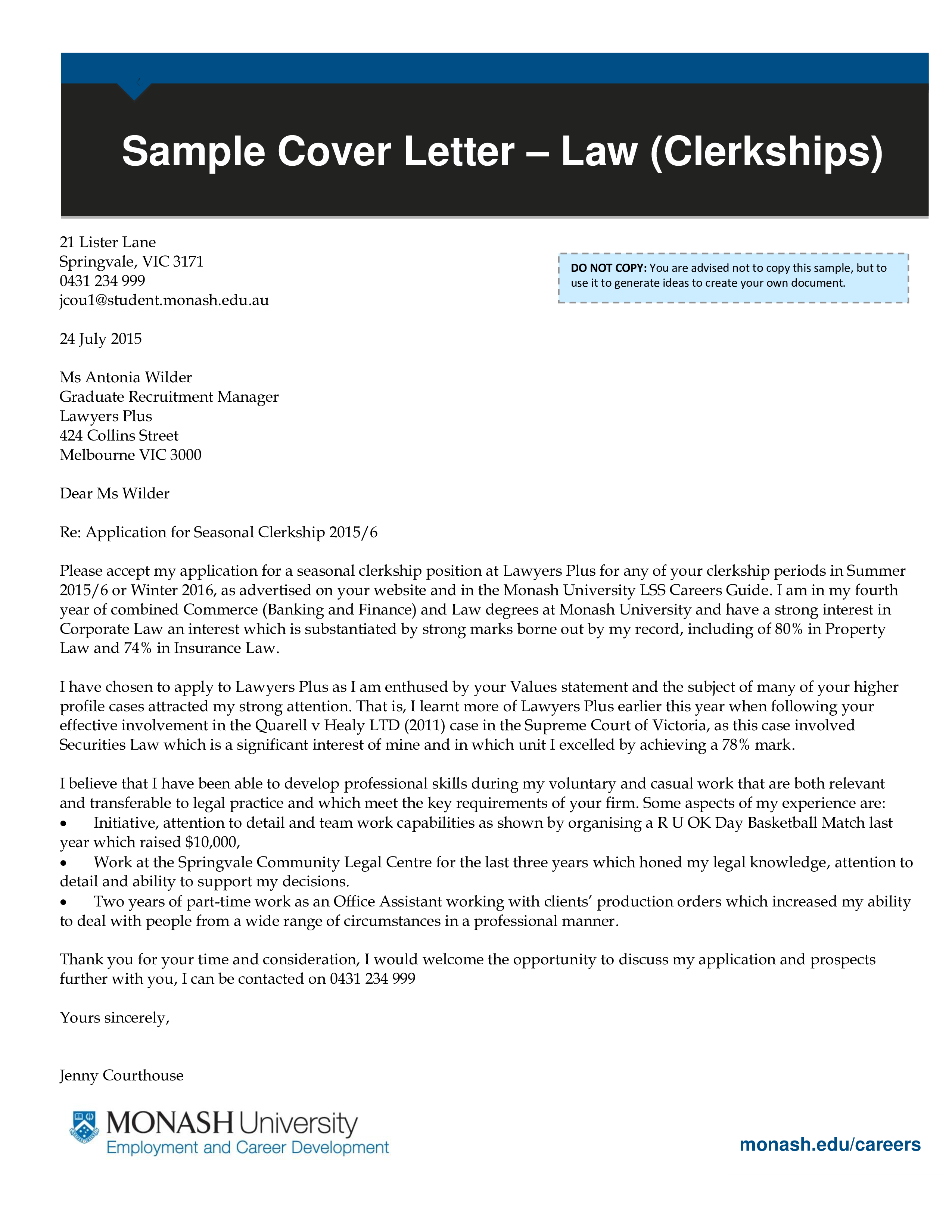 Law Student Application Cover Letter | Templates at ...