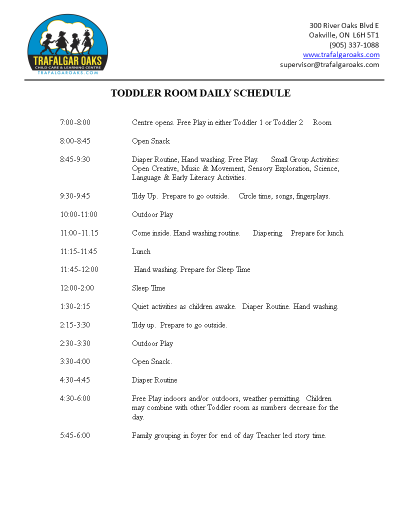 Toddler Daily Schedule Word main image