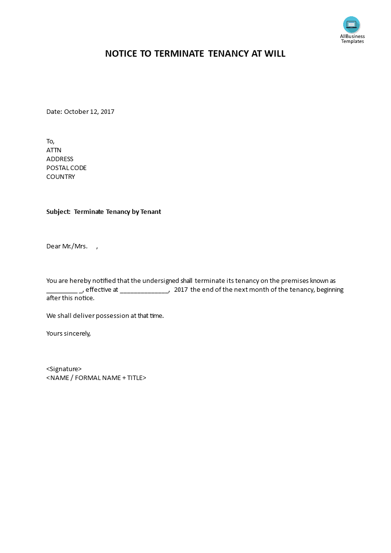 notice to end tenancy template - notice to terminate tenancy at will by tenant templates
