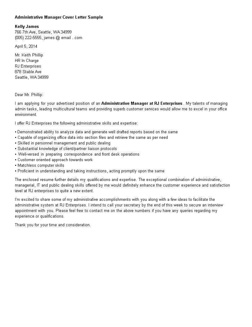 Administration Manager Resume Cover Letter | Templates at ...