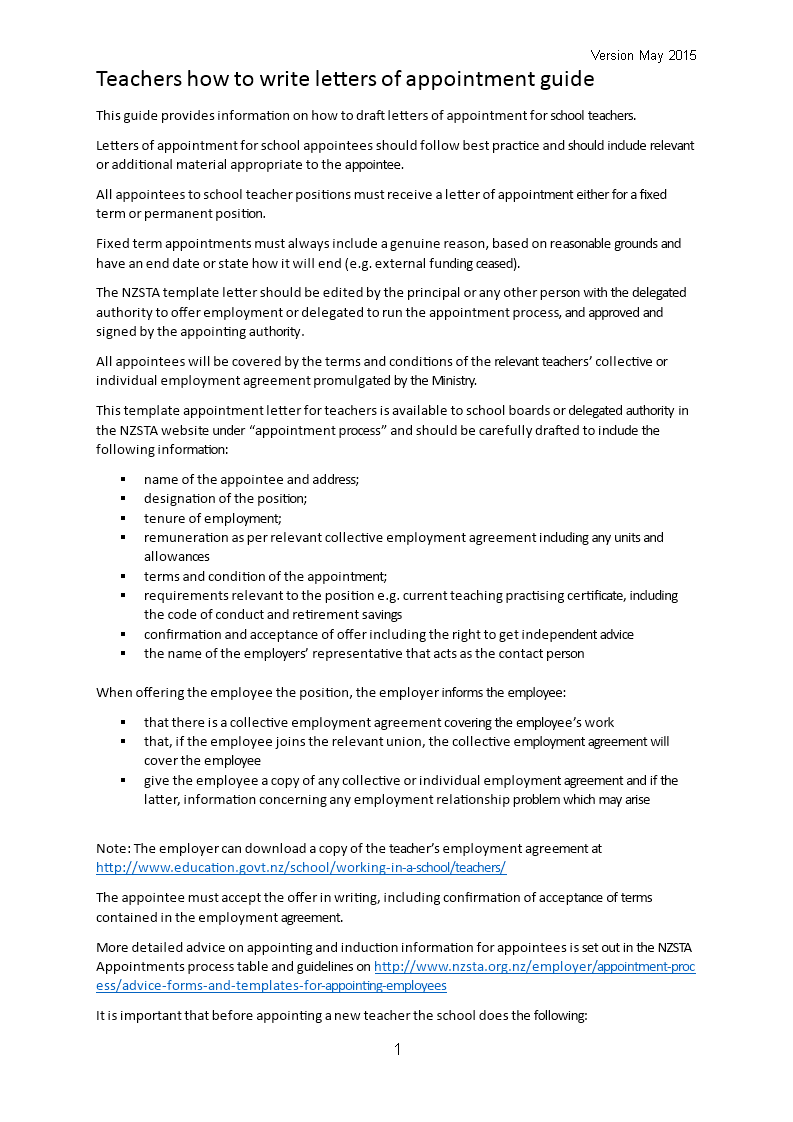 Free Permanent Teacher Position Appointment Letter Templates At