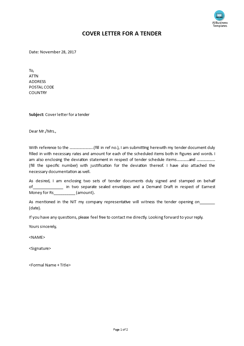 Cover Letter For A Tender | Templates at allbusinesstemplates ...