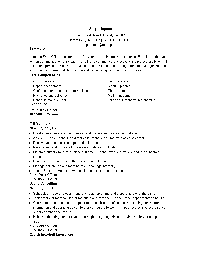 Front Office Administration Resume main image