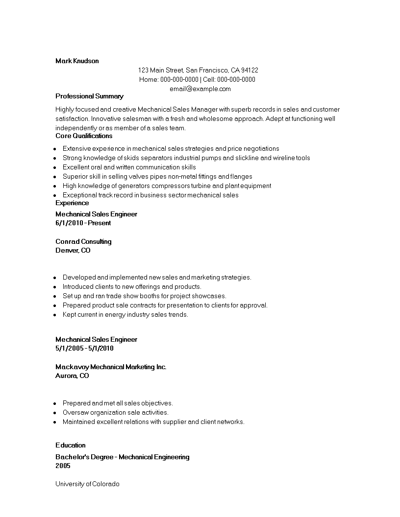 Free Mechanical Marketing Engineer Resume | Templates at ...