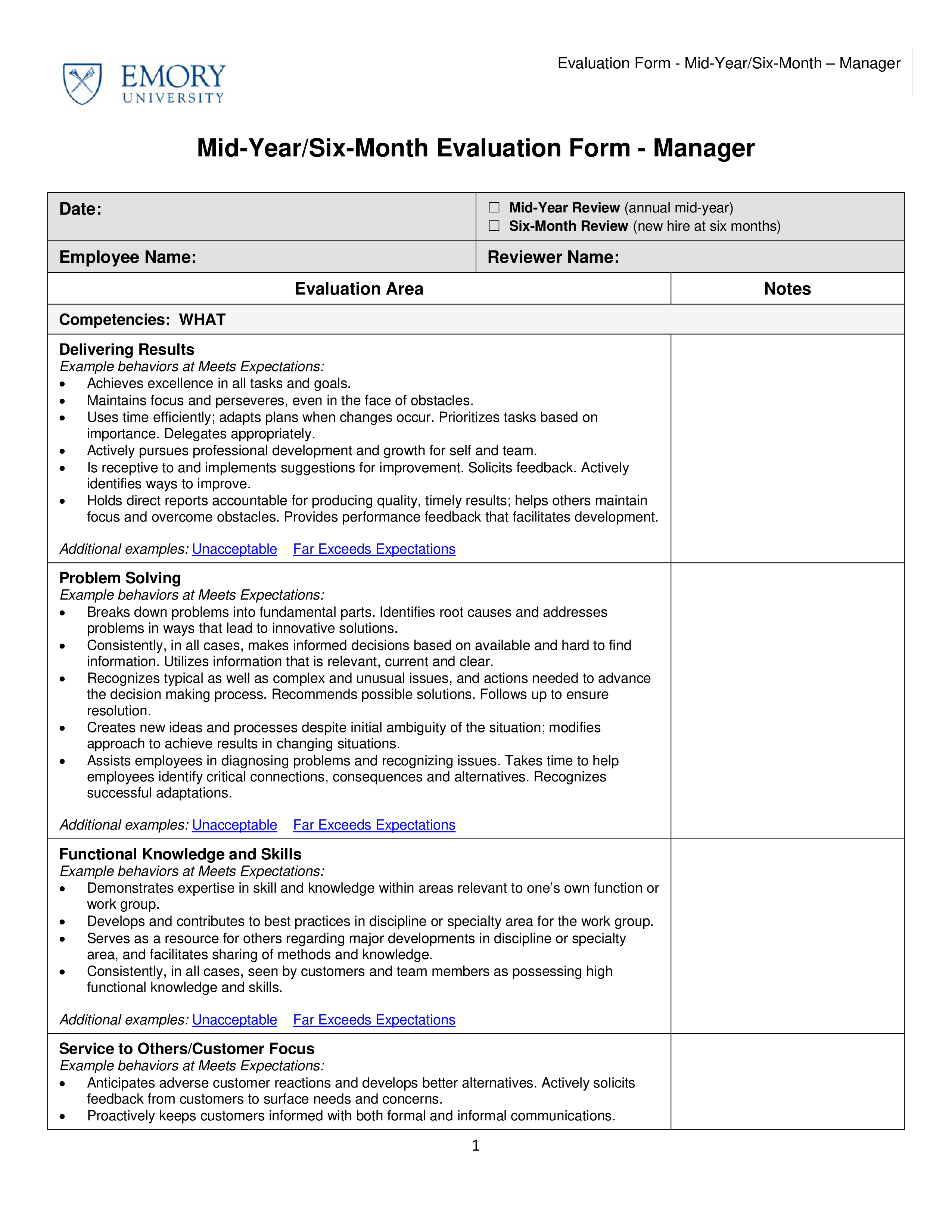 Free Six Month Employee Evaluation Form   Templates at ...