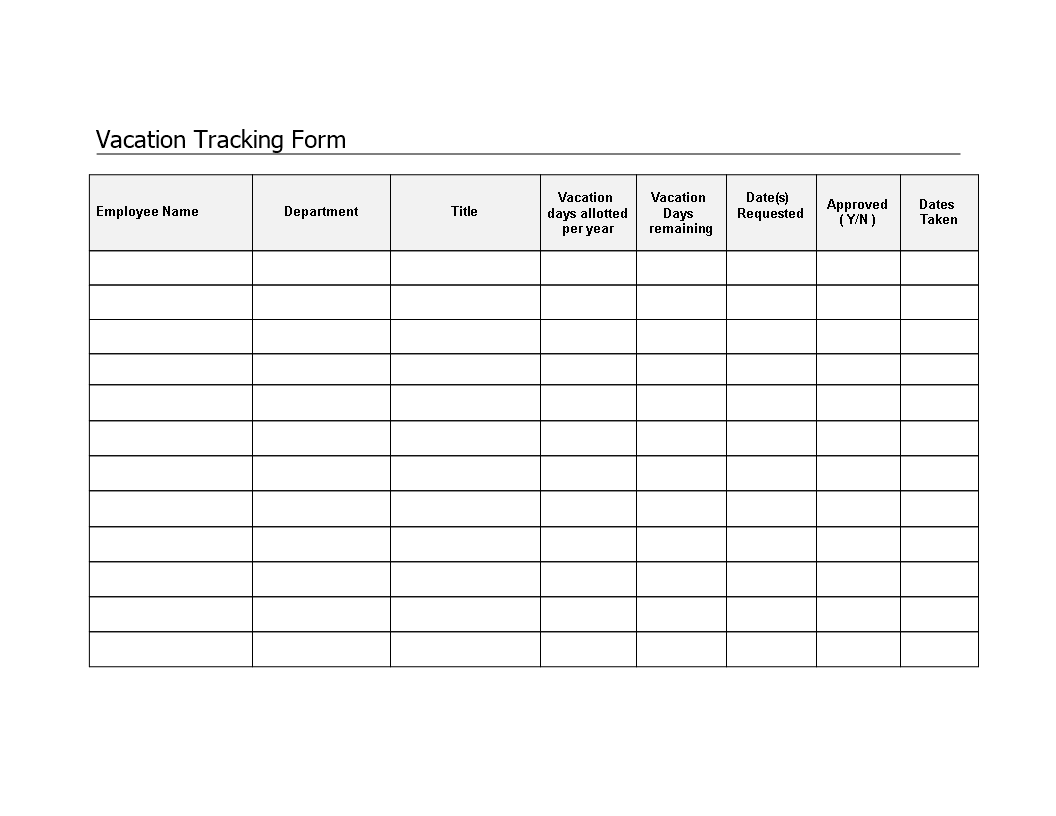 free employee vacation tracker form templates at