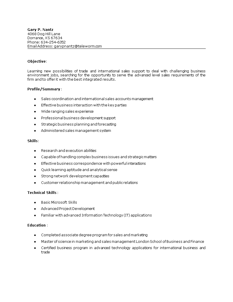 Free Sales Coordinator Job Resume Templates At