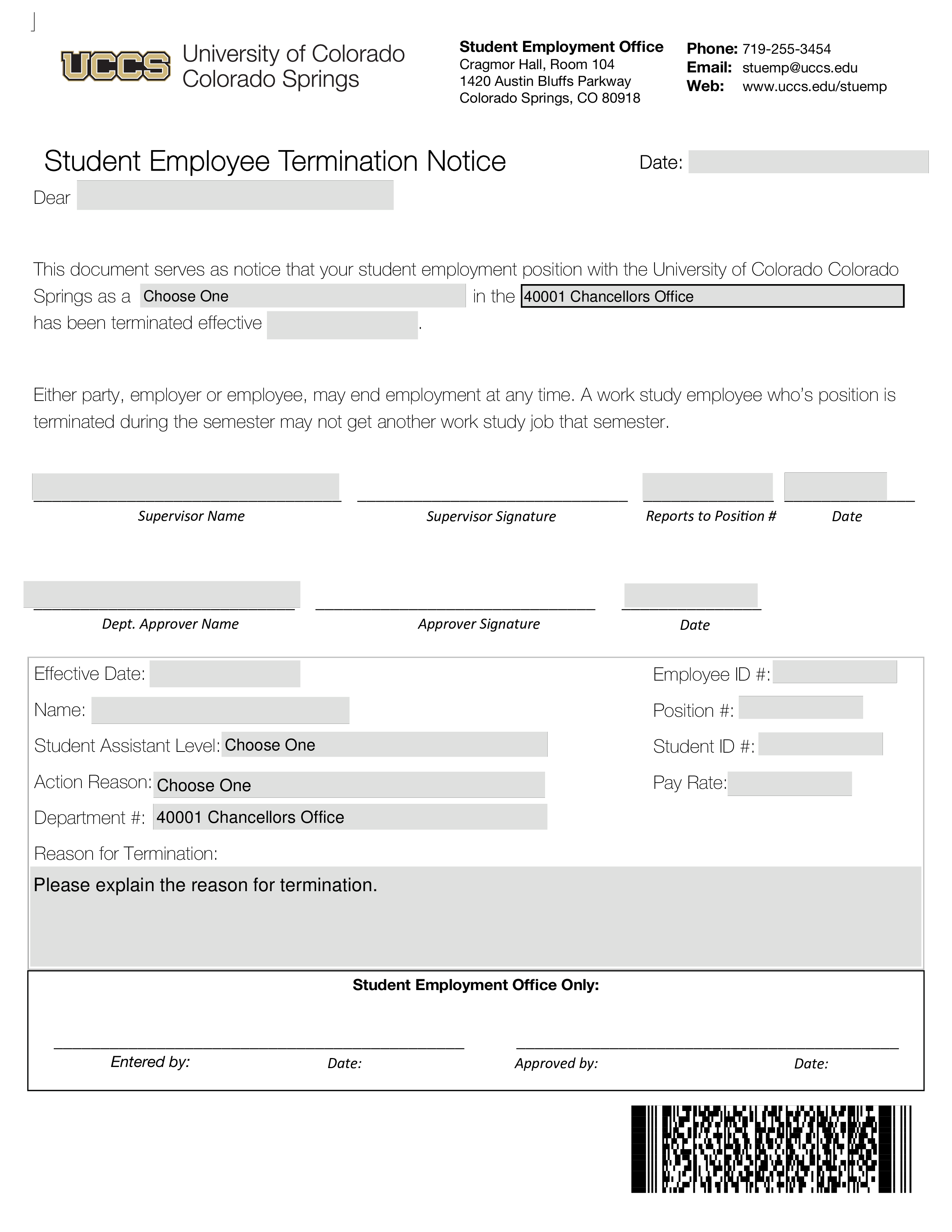 Free Student Employee Termination Notice Templates At
