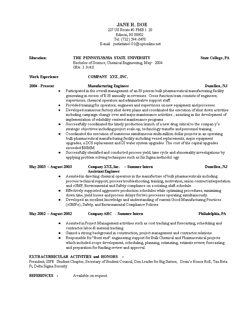 experienced chemical engineer resume