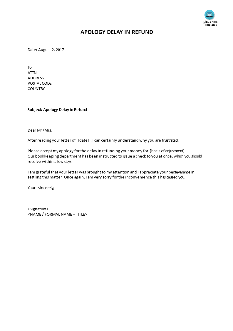 bank charges refund letter template - apology delay in refund templates at