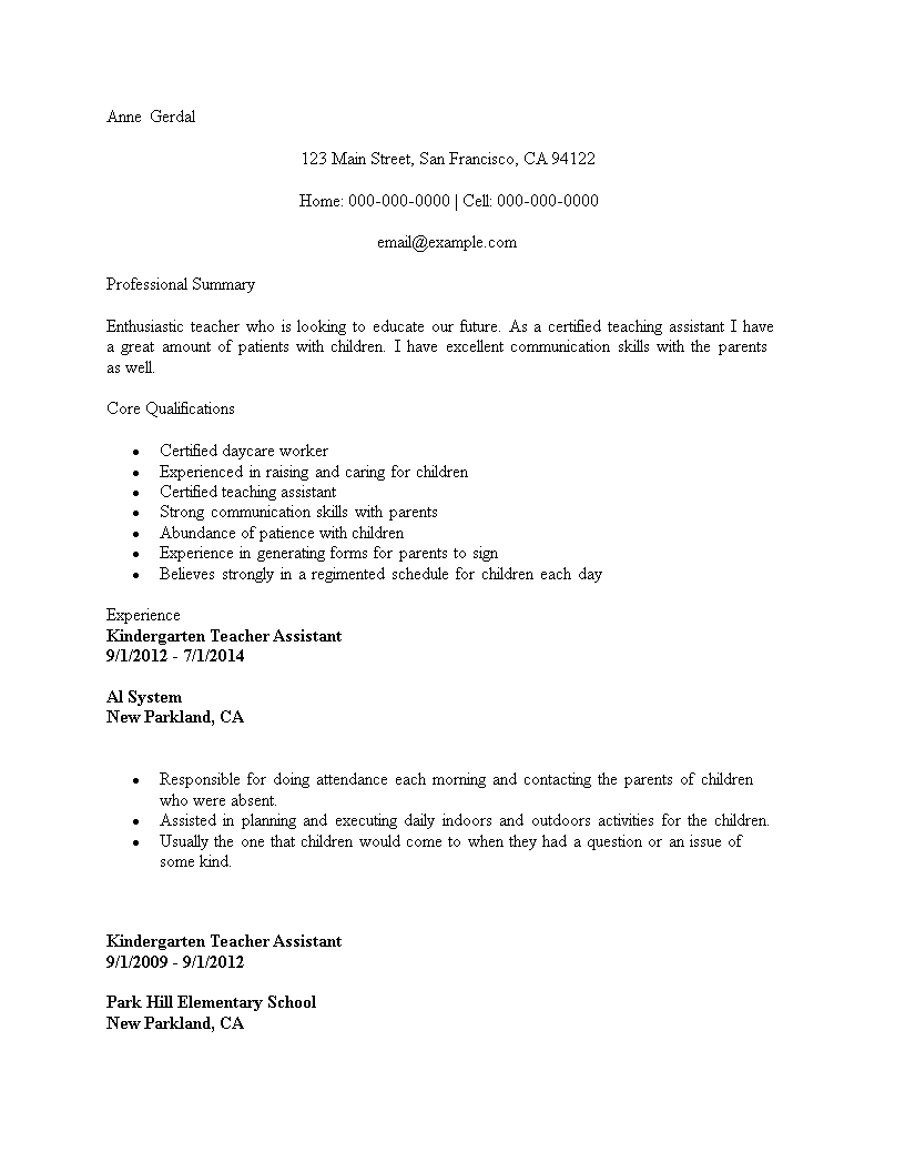 Free Resume For Kindergarten Teacher Assistant | Templates at ...