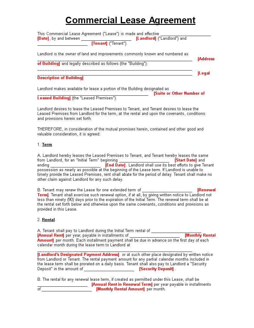 free commercial property lease agreement templates at