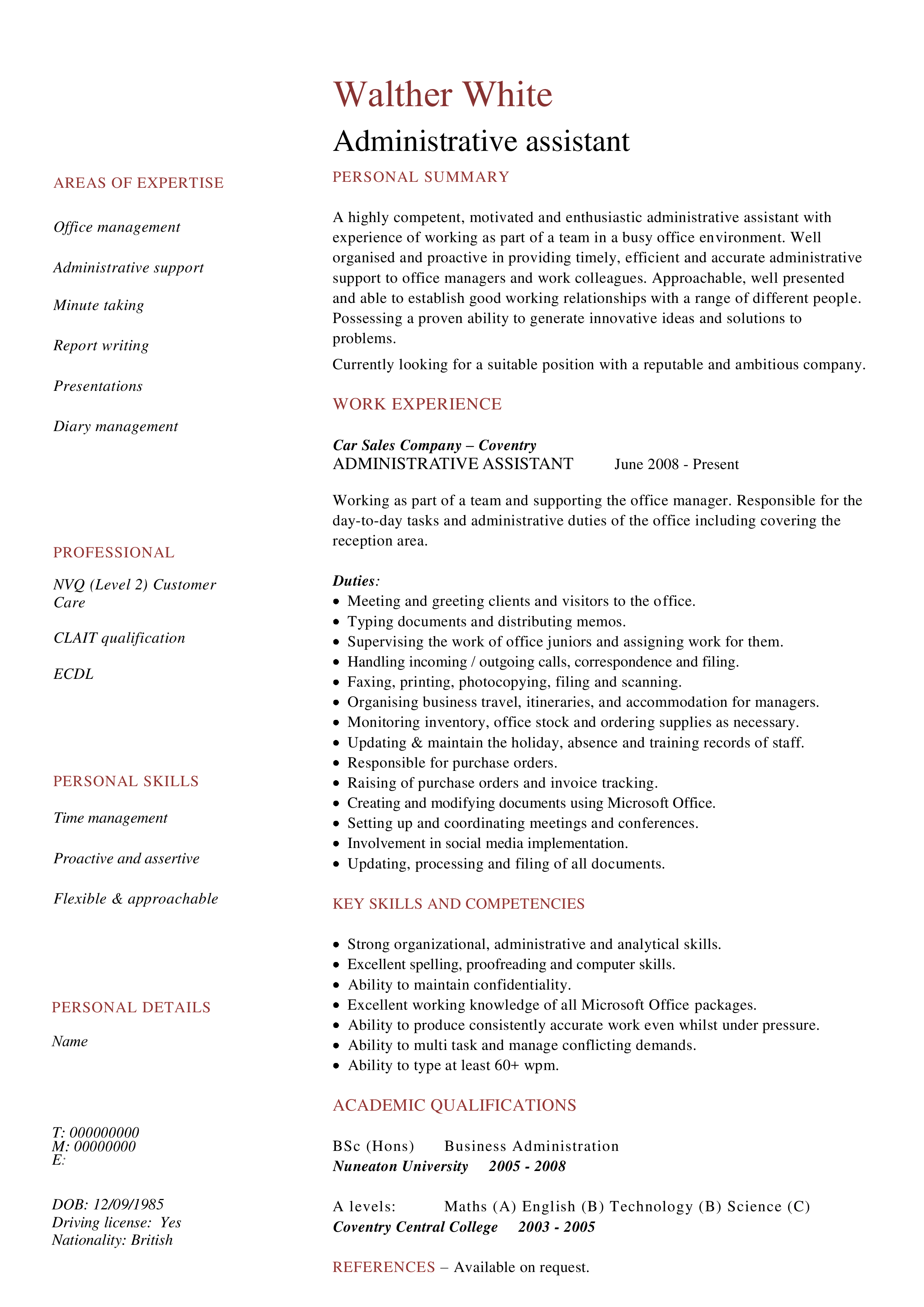 Administrative Work Experience Resume main image
