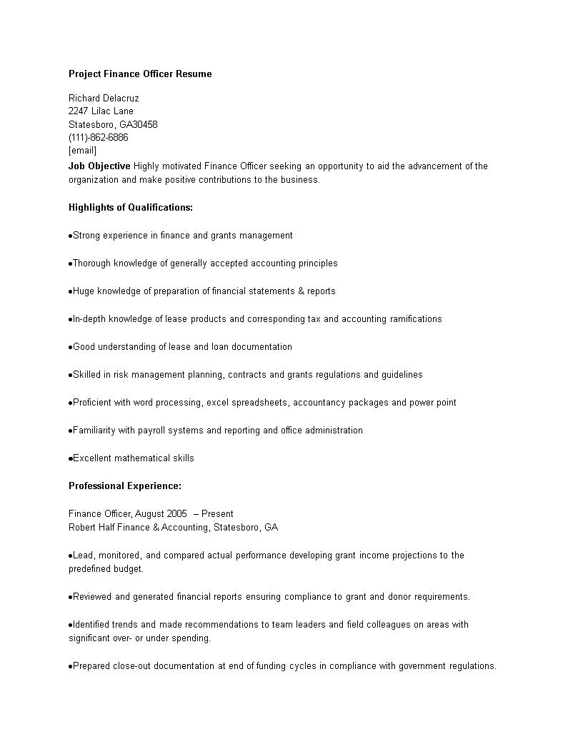 免费Project Finance Officer Resume | 样本文件在allbusinesstemplates.com