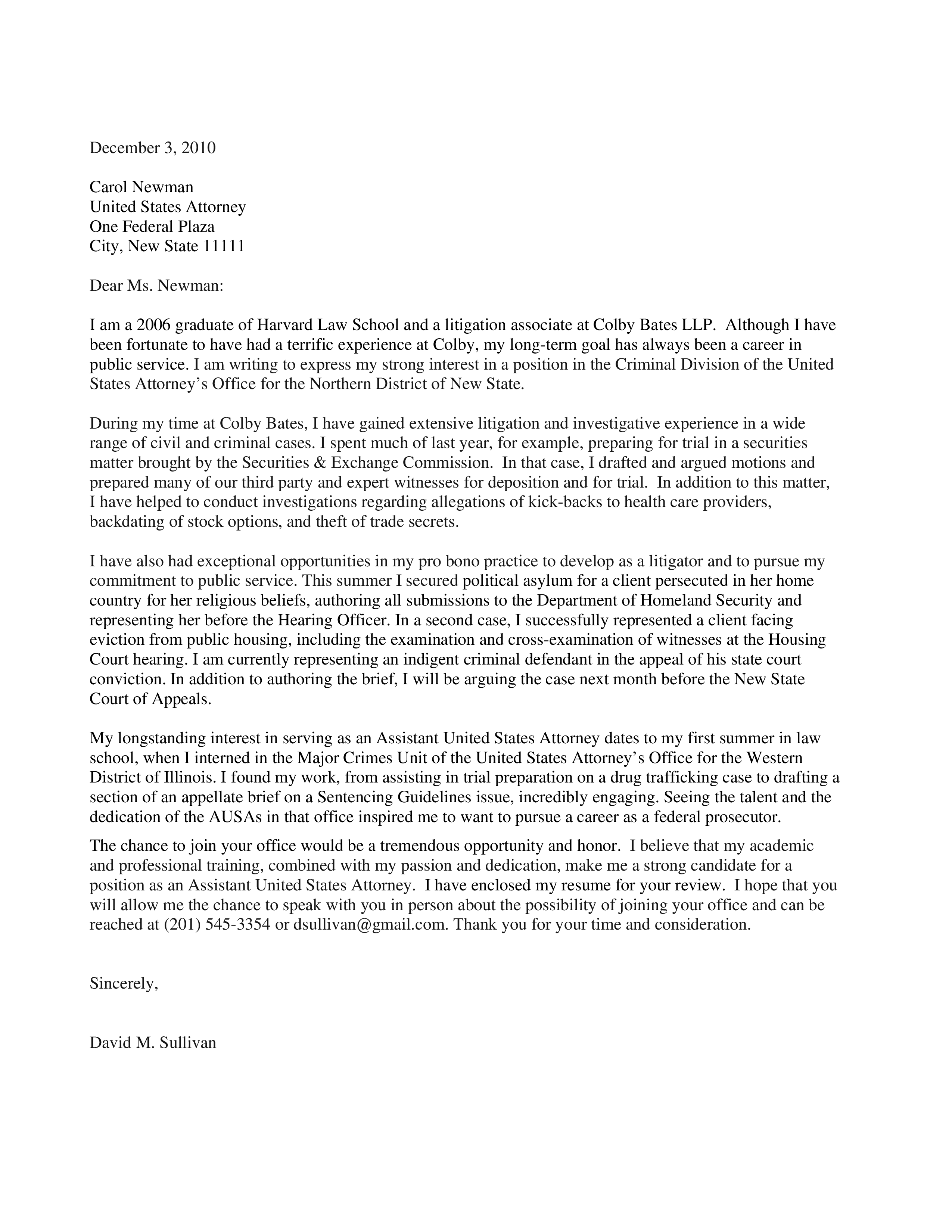 Graduate Law Student Cover Letter | Templates at ...