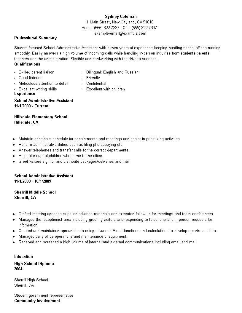 free school administration officer resume templates at