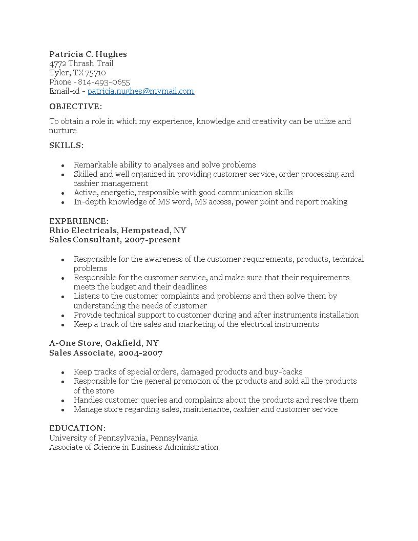 Free Sales Consultant Job Resume | Templates at allbusinesstemplates.com