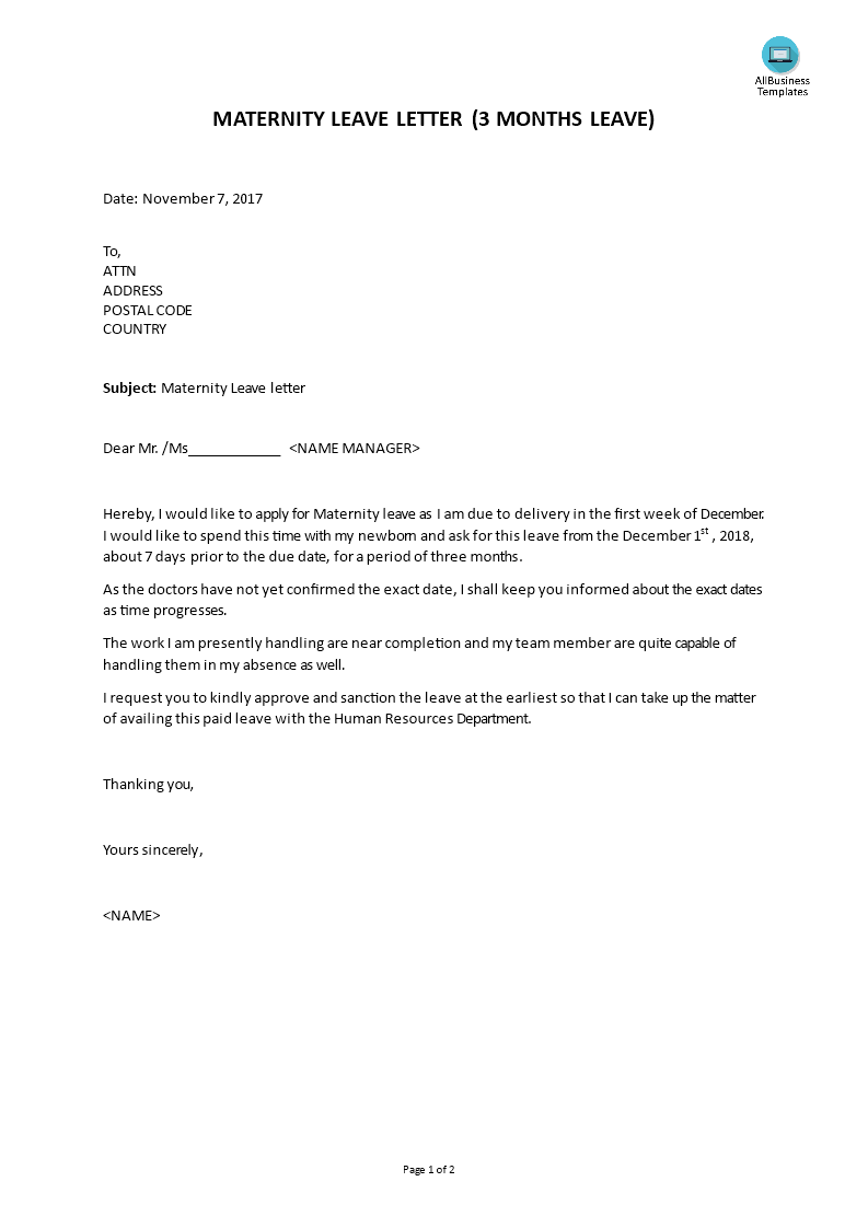 Free Maternity Leave Letter Templates At Allbusinesstemplates Com