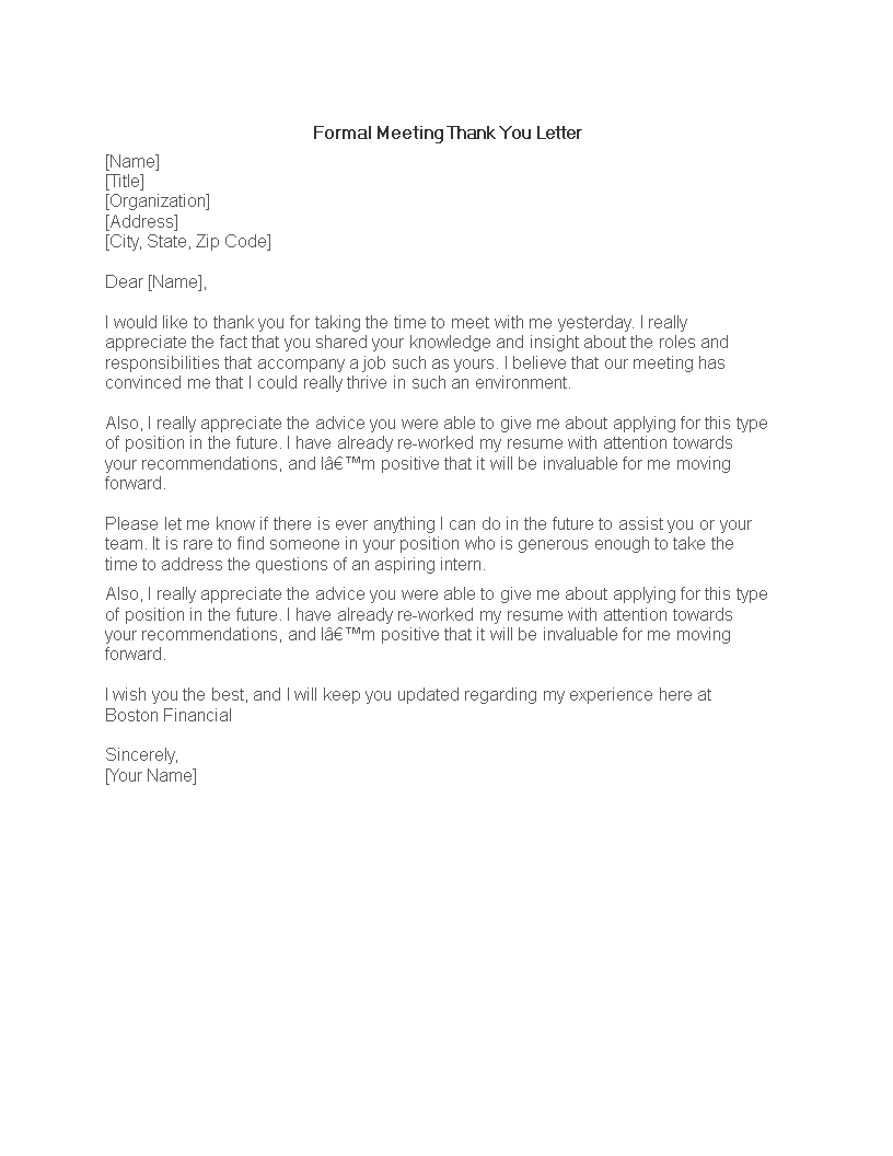 Free Formal Meeting Thank You Letter Template Templates At