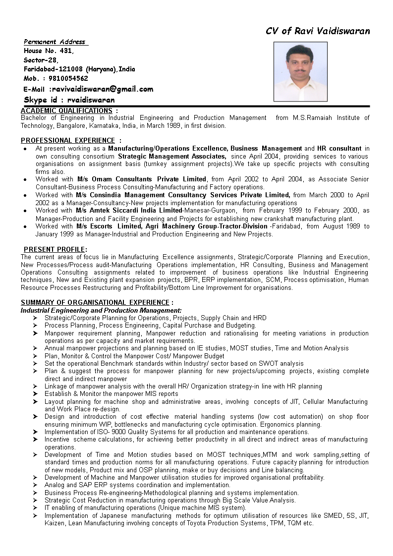 Production Manager Resume Main Image Download Template