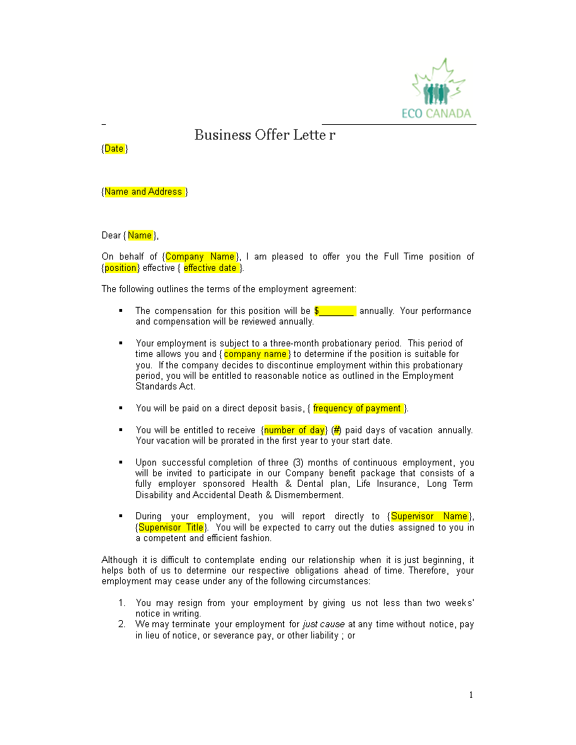 free formal business offer letter full time position templates at