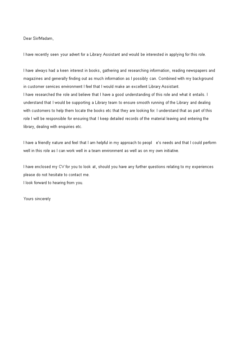 Librarian Library Assistant Cover Letter - 200+ Cover ...