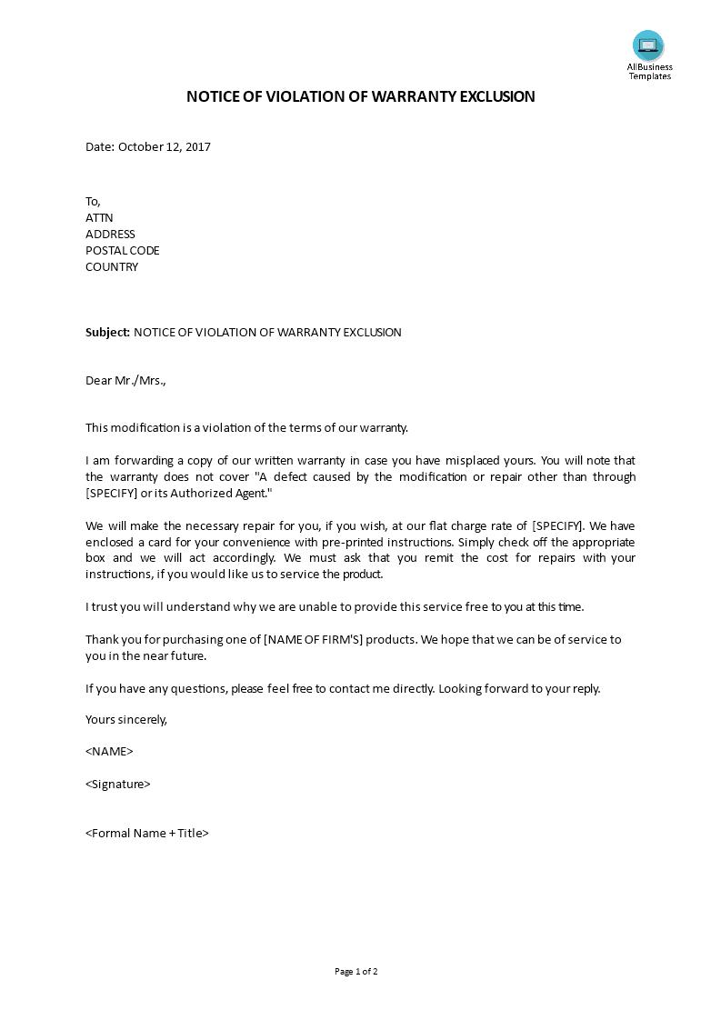 customer service reply notice of violation of warranty exclusion