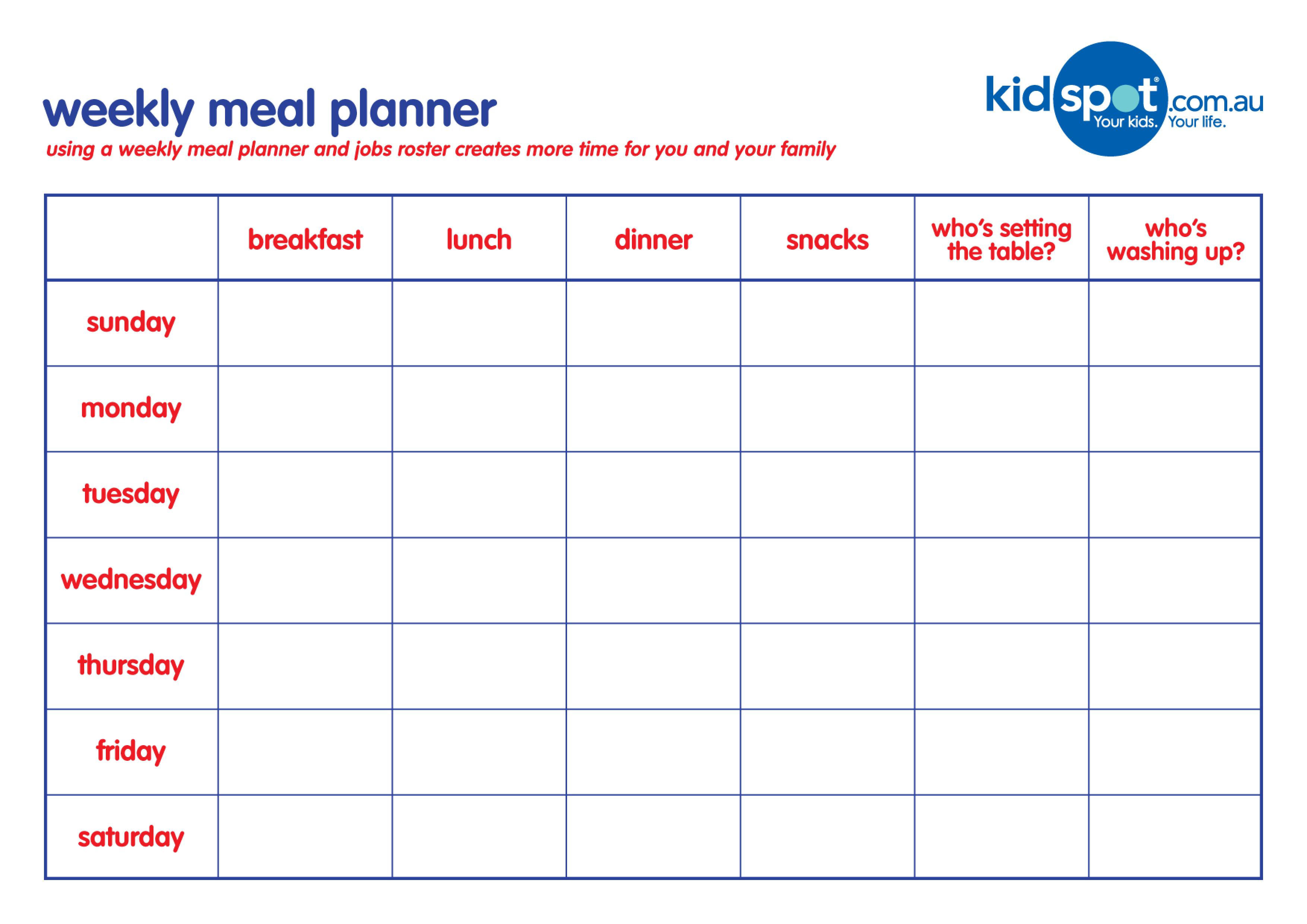 Free Weekly Family Meal Planner | Templates at ...