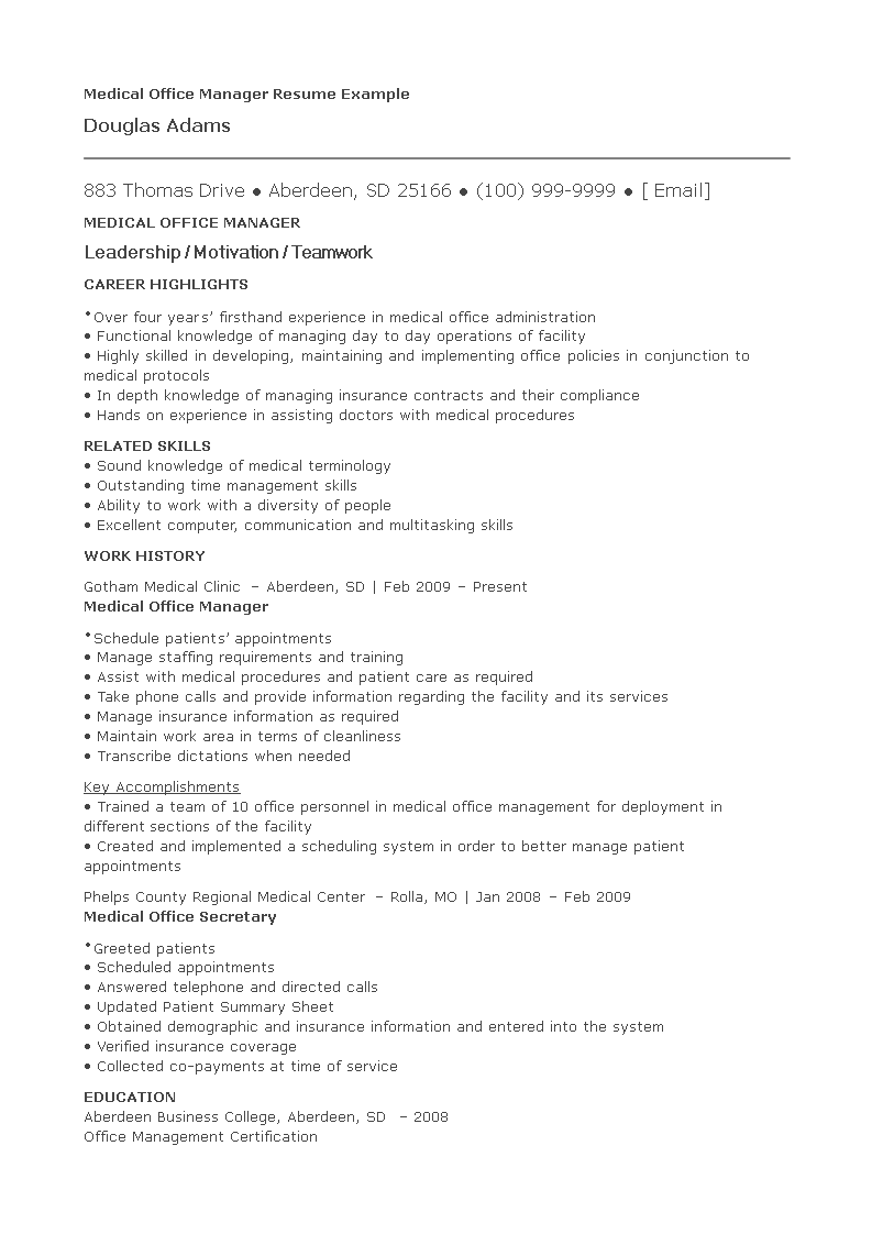 Medical Office Manager Resume   Templates at ...