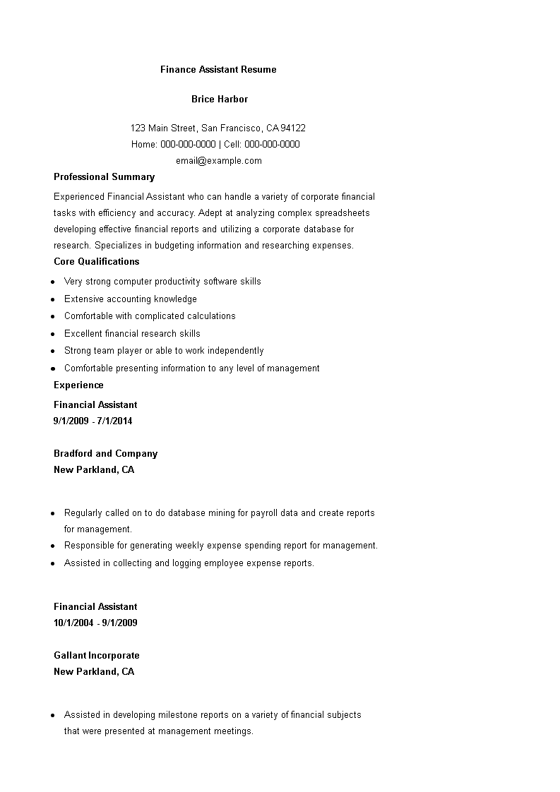 Finance Assistant Resume main image