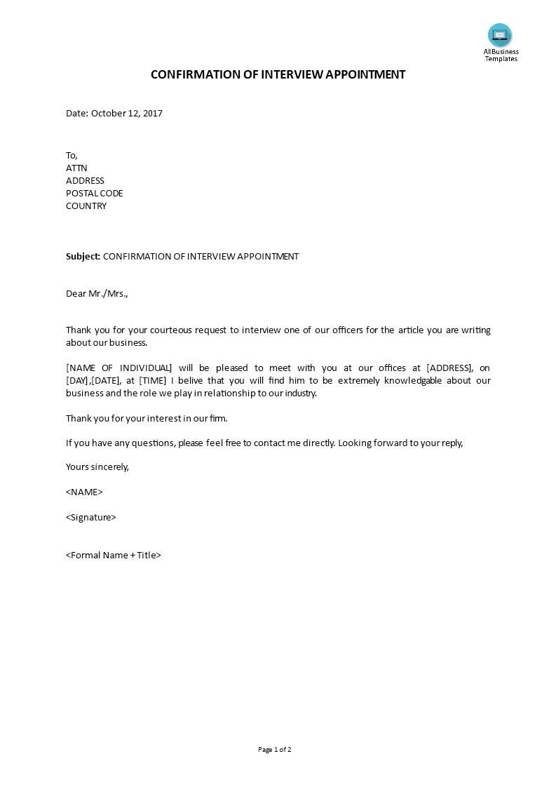 Confirmation Letter For Interview from www.allbusinesstemplates.com