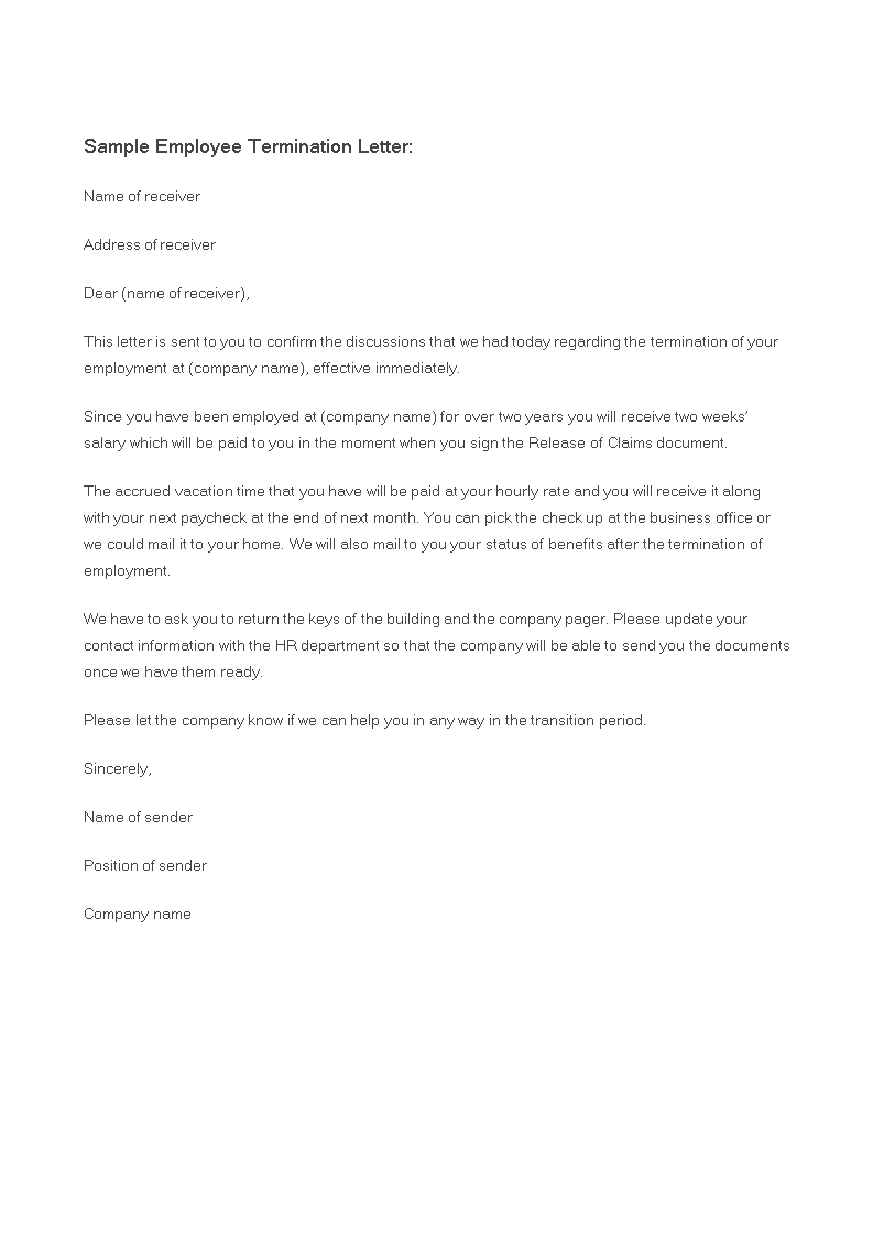 Employee Letter Of Termination main image