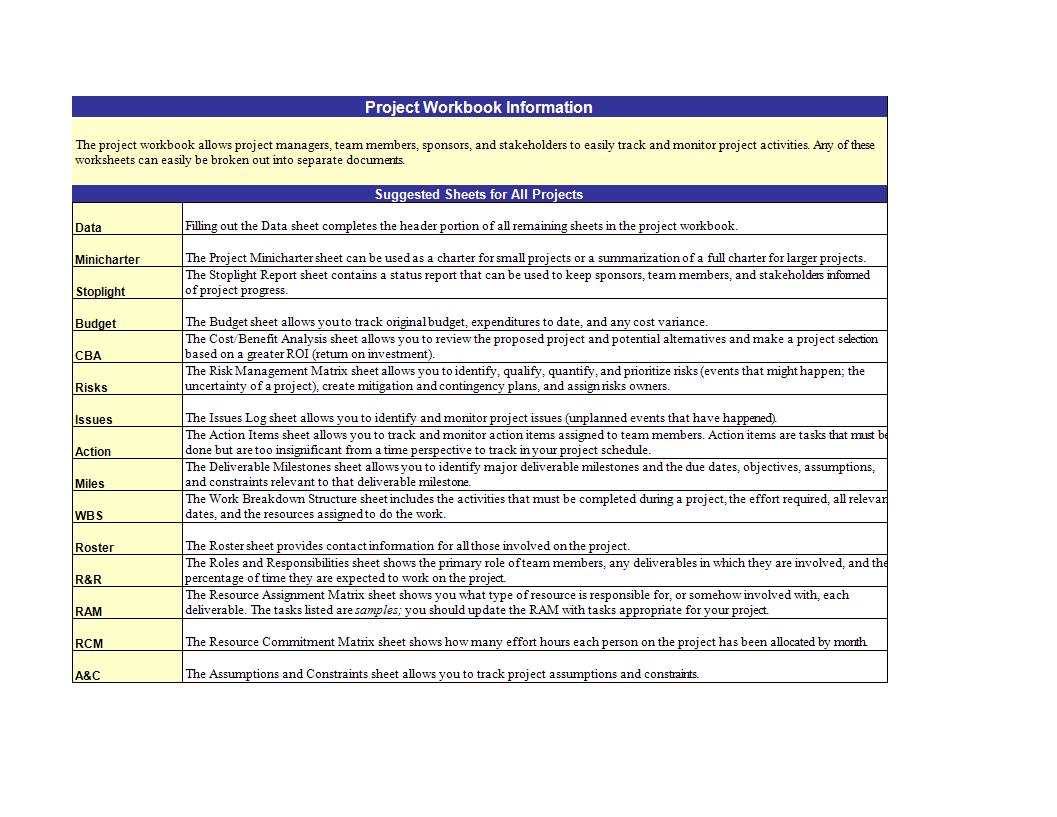 免费Basic Project Management In Excel 样本文件在 - Project workbook template excel