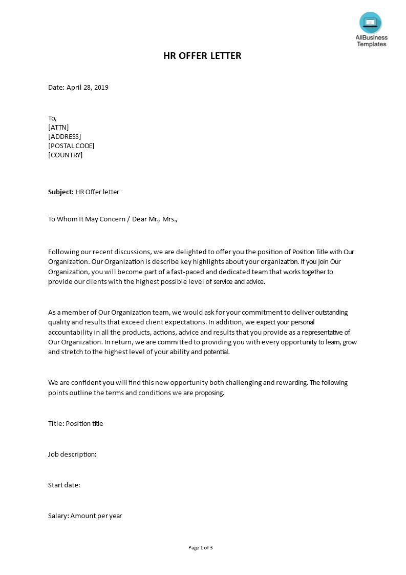 hr letter template  Job Offer Letter Format | Templates at allbusinesstemplates.com