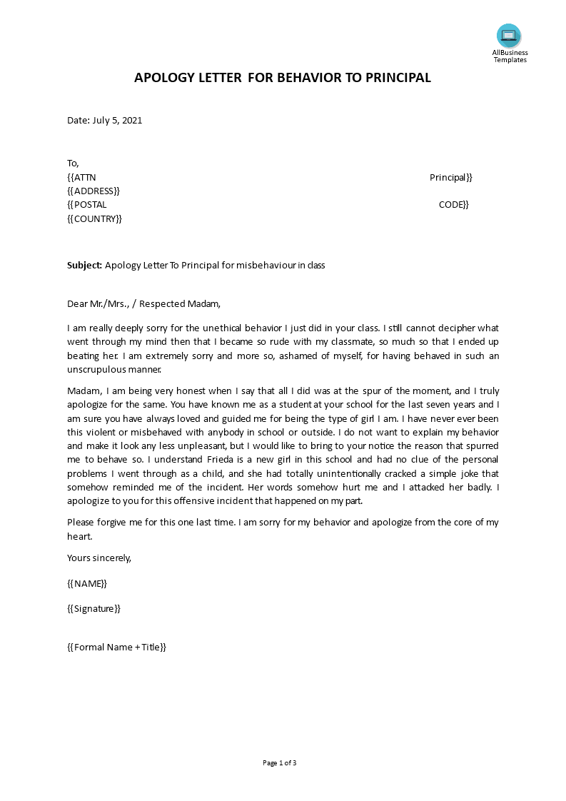 Professional Apology Letter for Behavior main image