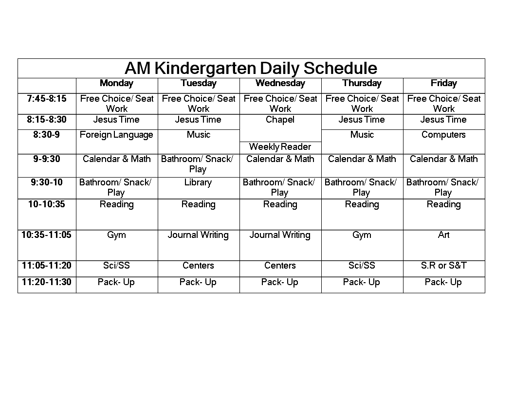 free kindergarten daily schedule word templates at