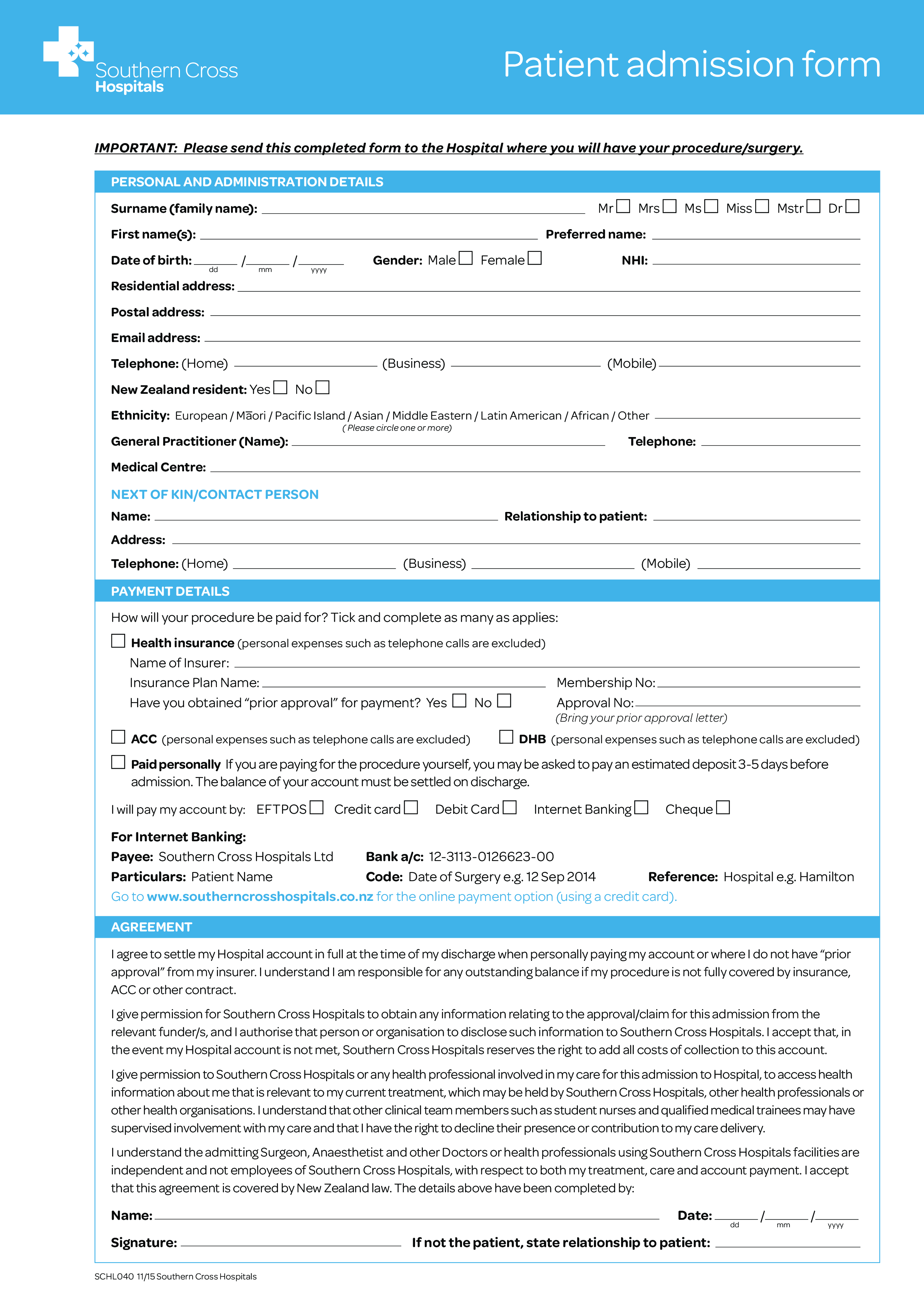 hospital admission letter
