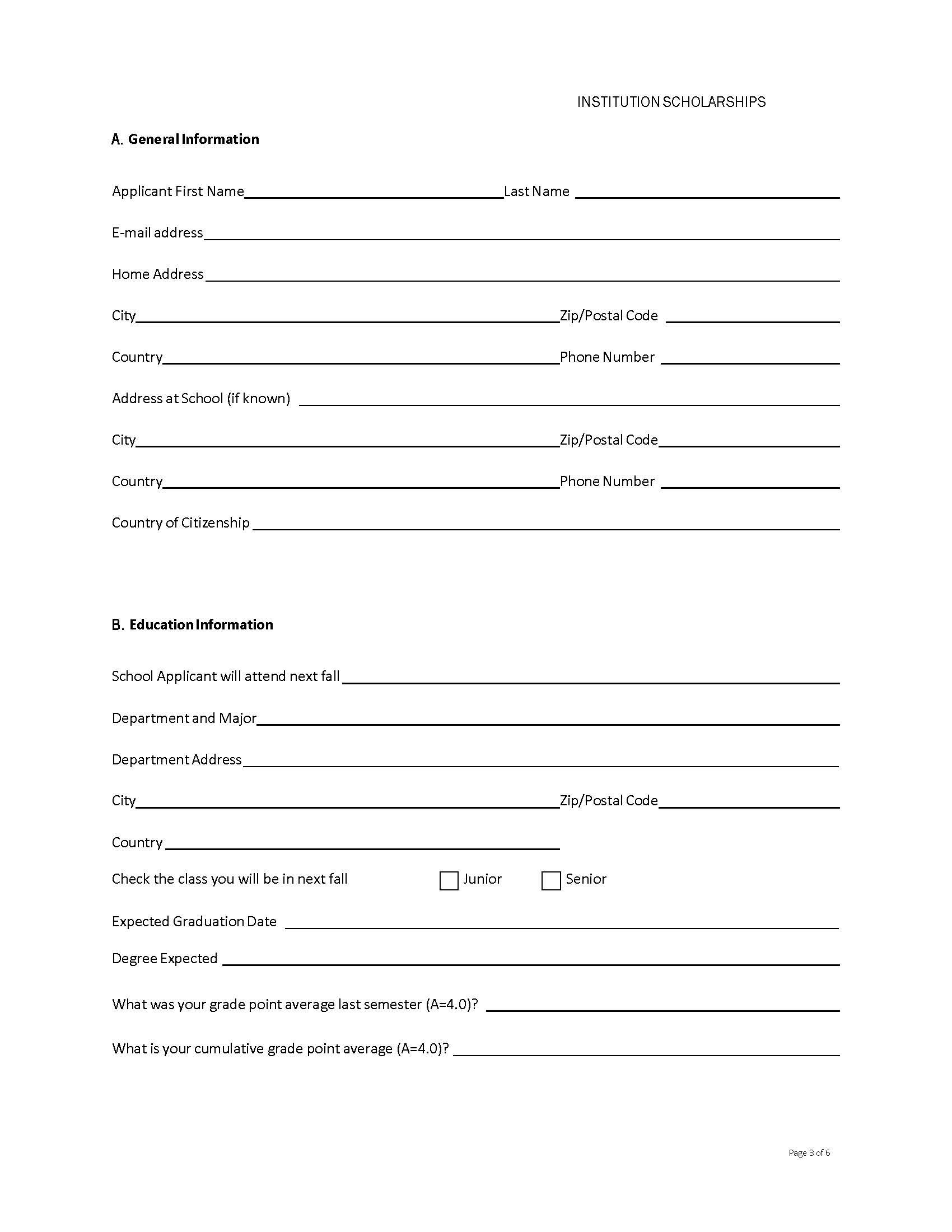 Free Application form scholarship for Universities | Templates at ...