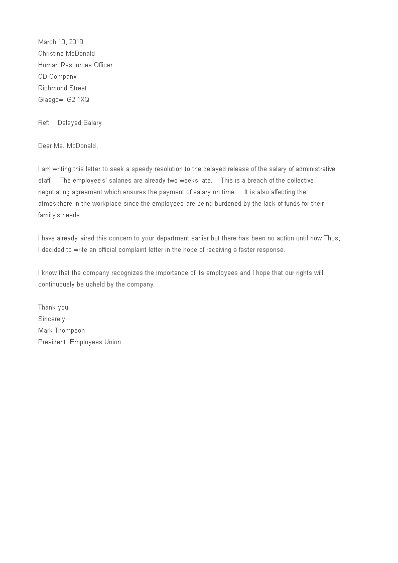 Gratis Employee Formal Complaint Letter Sample