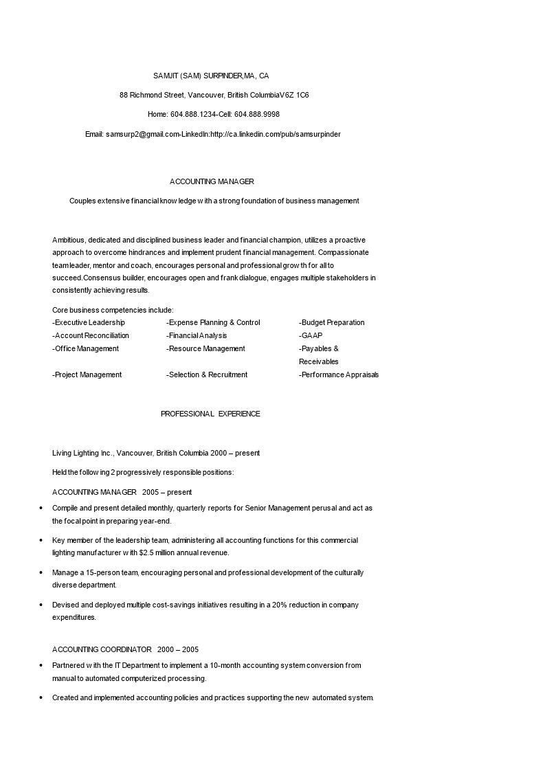 免费Finance Accounting Manager Resume | 样本文件在 ...