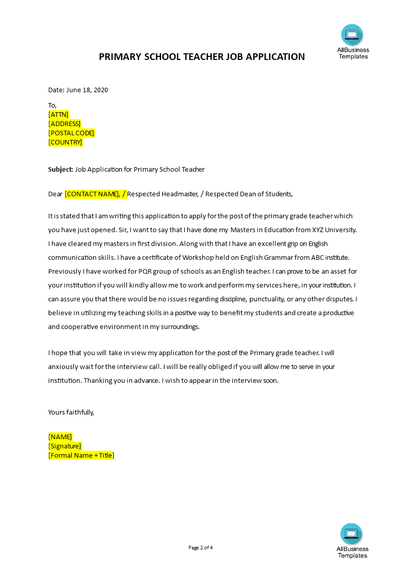 professional application letter writing site for school
