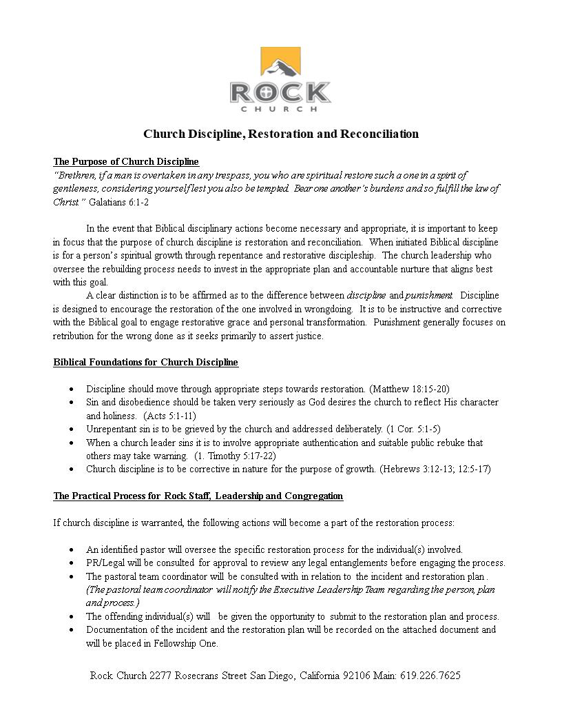 Free Church Disciplinary Action Form | Templates at ...