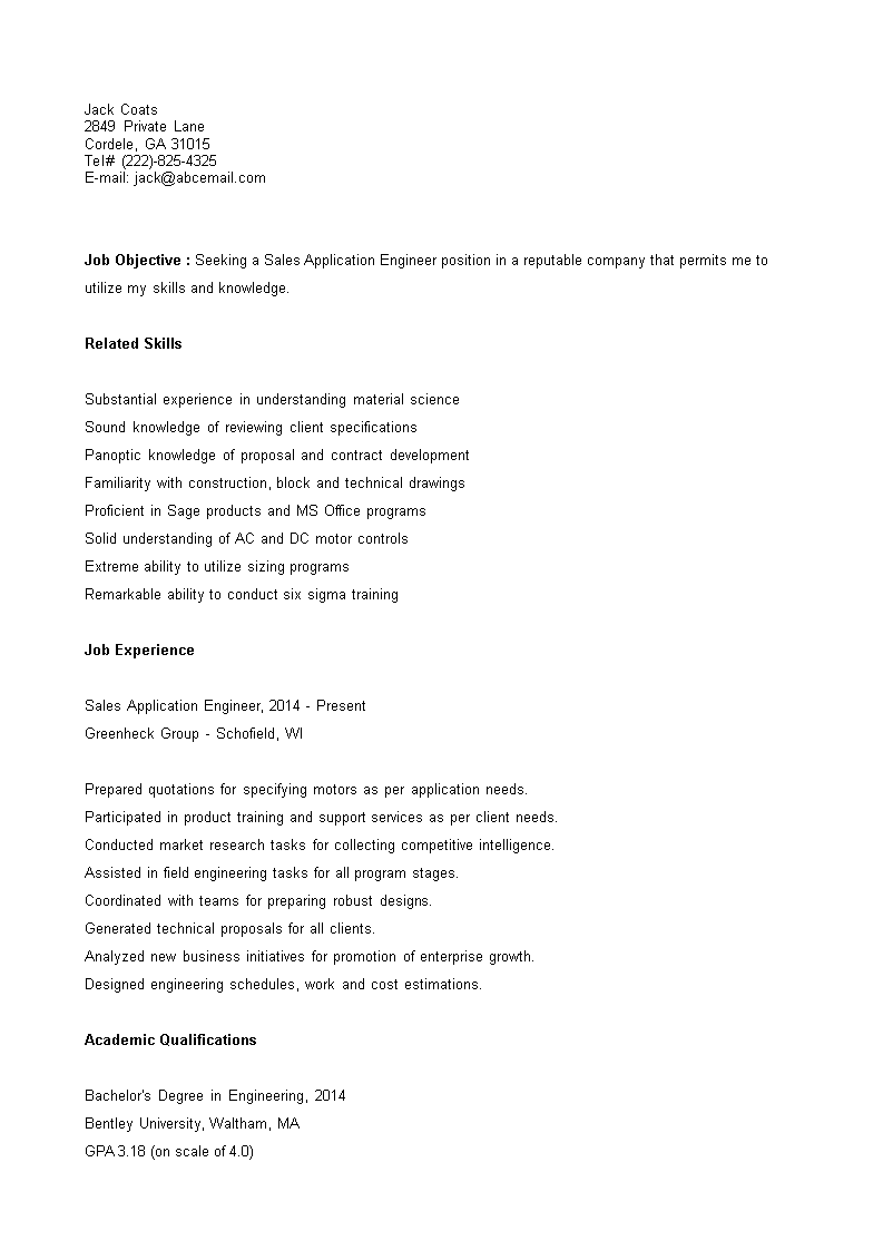 Free Sales Application Engineer Resume | Templates at ...