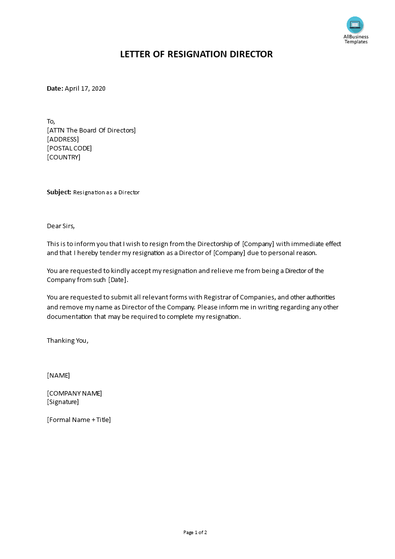 Resignation Letter Due To Family Reason from www.allbusinesstemplates.com