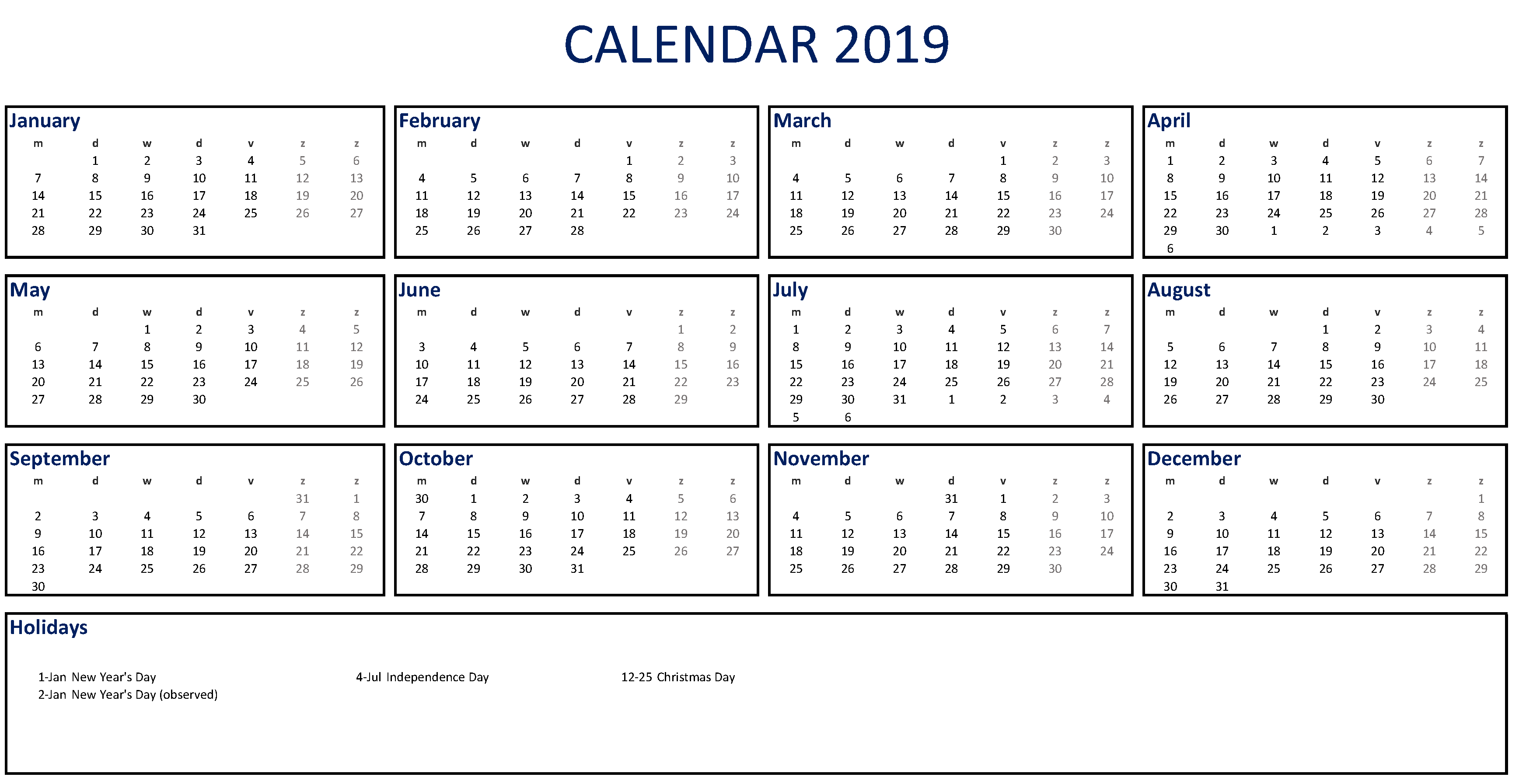 Free Printable 2019 Calendar Excel Templates At