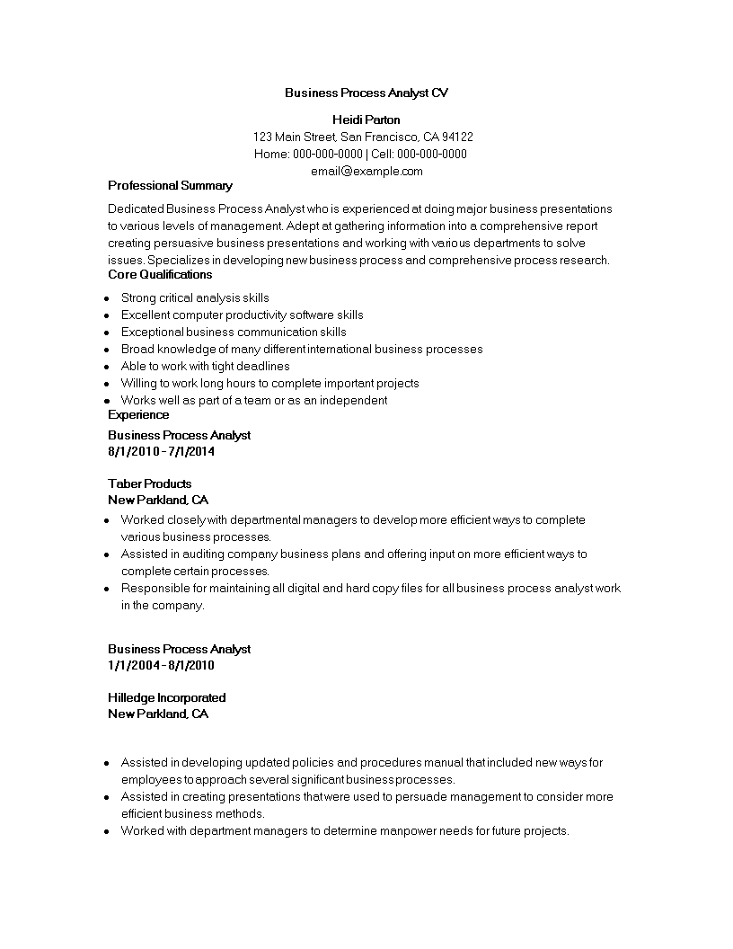 Business Process Analyst CV Main Image