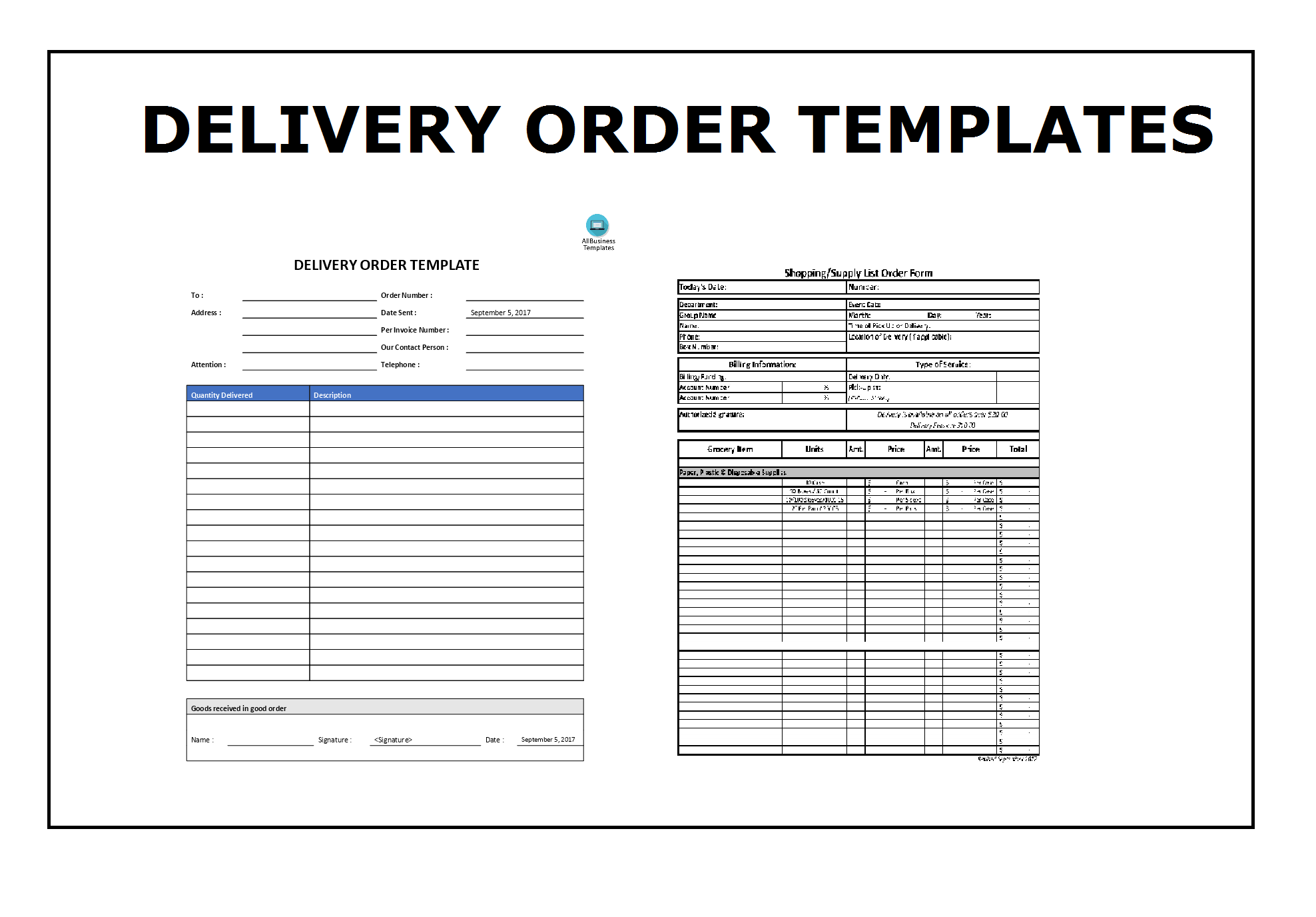 Delivery Order Template – Order Templates