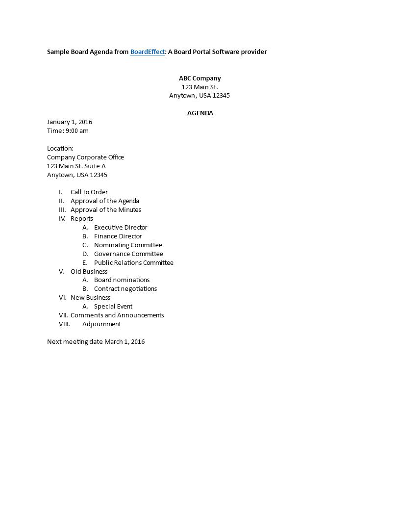 Free Board Meeting Agenda Templates At Allbusinesstemplates
