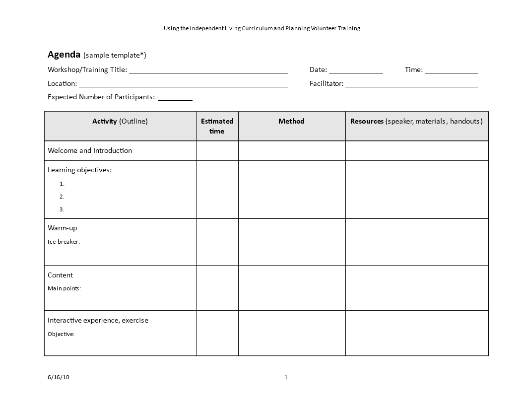 Training Agenda Outline Template | Templates at ...