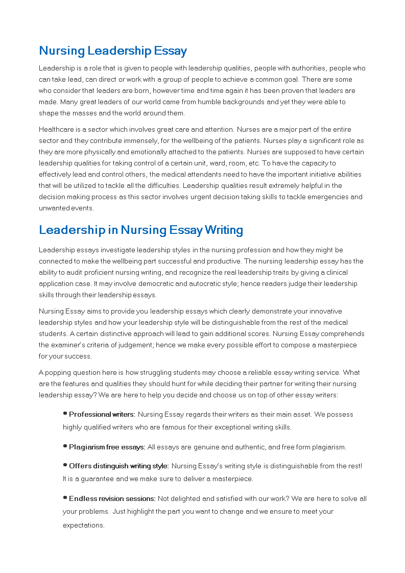 Free Nursing Leadership Essay Sample  Templates At  Nursing Leadership Essay Sample Main Image